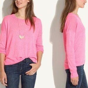 Madewell Neon Pink Linen Oversize Studio Sweater
